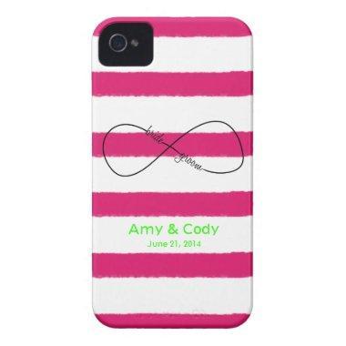 Infinity Bride & Groom Wedding Customizable iPhone 4 Case-Mate Case