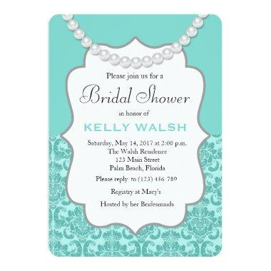 Inspired Pearls Aqua Blue Bridal Shower Invitations