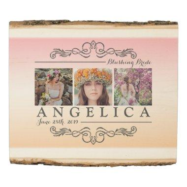 Instagram Bridal Shower Wedding Ombre Photo Grid Wood Panel