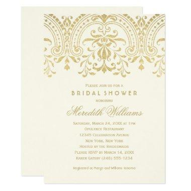 Ivory and Gold Vintage Glamour | Bridal Shower Invitations