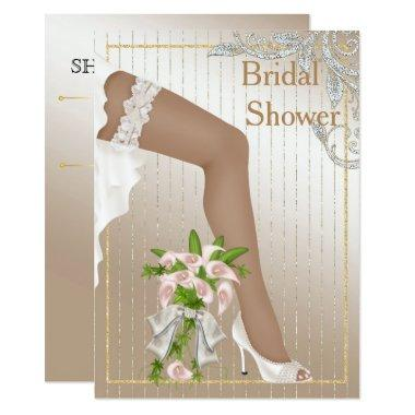 Ivory and Satin African American Bridal Shower Invitations