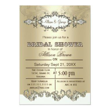 Ivory Gold Scroll Elegant  Invites