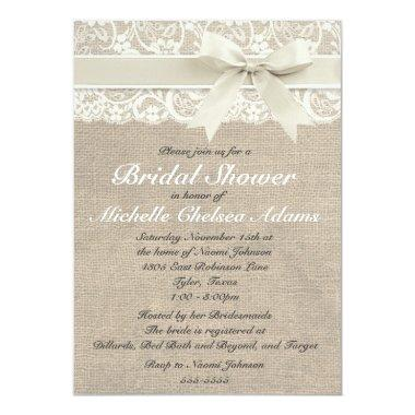 Ivory Lace Burlap Bridal Shower Invitations