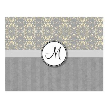 Ivory on Silver Damask and Stripes with Monogram Post