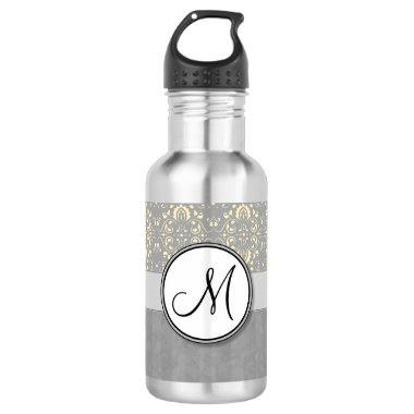 Ivory on Silver Damask and Stripes with Monogram Stainless Steel Water Bottle