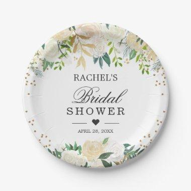 Ivory White Green Floral Bridal Shower Paper Plate
