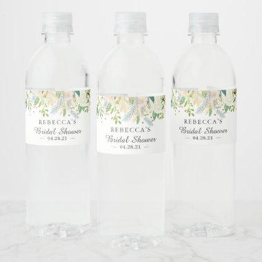 Ivory White Green Gold Floral Bridal Shower Water Bottle Label