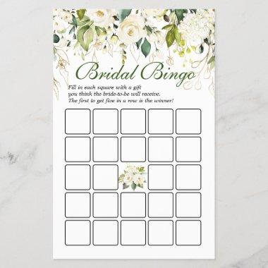Ivory White Roses Double-Sided Bridal Shower Game