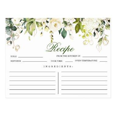 Ivory White Roses Floral Bridal Shower Recipe Invitations