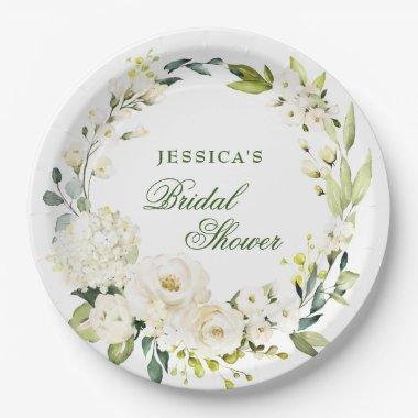 Ivory White Roses Floral Greenery Bridal Shower Paper Plate