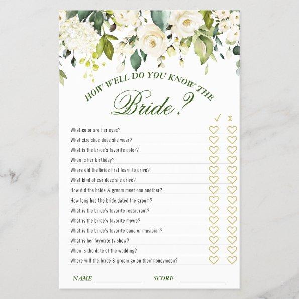 Ivory White Roses Greenery Bridal Shower Game