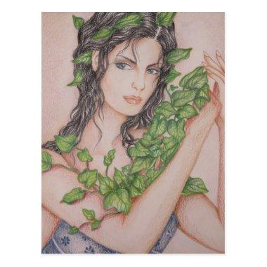 Ivy Bride Girl Portrait Pencil Art Illustration Post