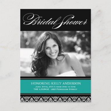 Jade and Black Damask Bridal Shower Invites