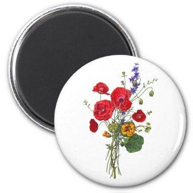 Jean Louis Prevost Bright Red Nasturtium Bouquet Magnet