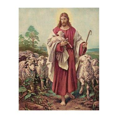 Jesus Christ Lamb Love Painting Shepherd Vintage Wood Print