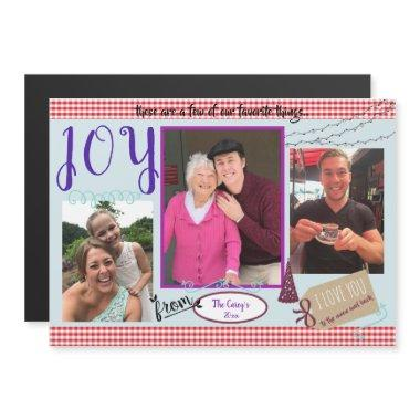 Joy Homemade Christmas Scrapbook Photo Magnet Invitations