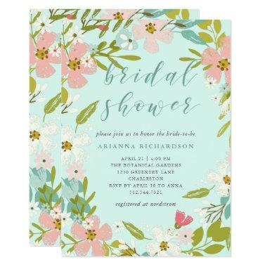 Joyous Floral on Mint Green | Bridal Shower Invitations