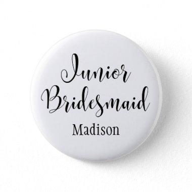 Junior Bridesmaid 2 Black Typography w/ Name (30) Button