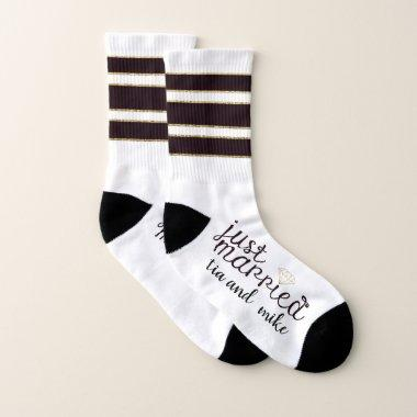 Just Married No Cold Feet Personalized Custom Socks