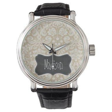 Khaki Damask; Vintage Chalkboard look Wrist Watch