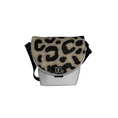 Khaki, Tan, Leopard Animal Print Courier Bag
