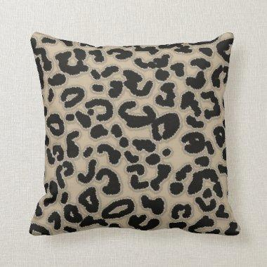 Khaki, Tan, Leopard Animal Print Throw Pillow