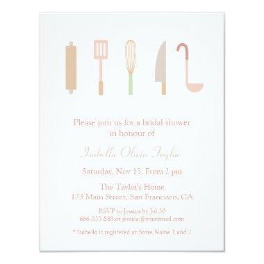 Kitchen Cooking Accessories Utensils Bridal Shower Invitations