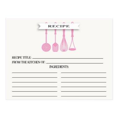 Kitchen Pink Utensils Bridal Shower Recipe Invitations