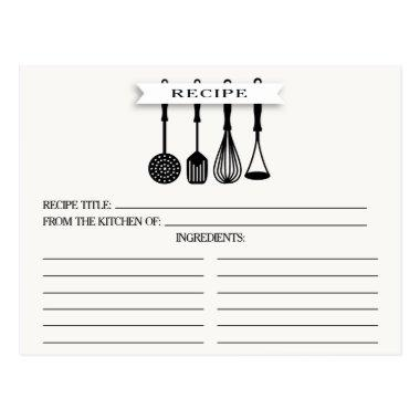 Kitchen Utensils Bridal Shower Recipe Invitations