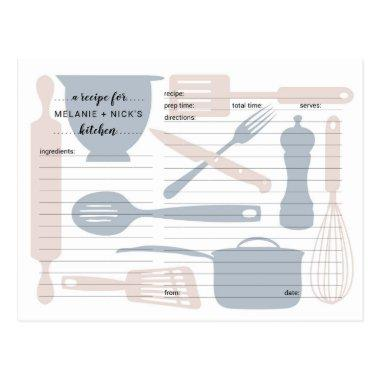 Kitchen utensils recipe Invitations, dusty rose blue postInvitations