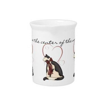 Kitty Cat with Hearts Picture Drink Pitcher