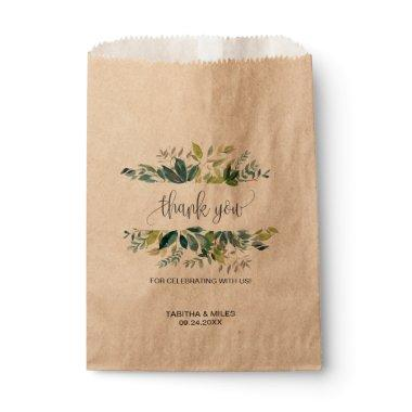 Kraft Foliage Thank You Favor Bag