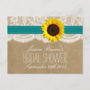 Kraft, Lace & Sunflower Bridal Shower Recipe Invitations