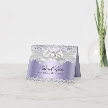 Lace & Bow Purple Bridal Shower Thank You Invitations