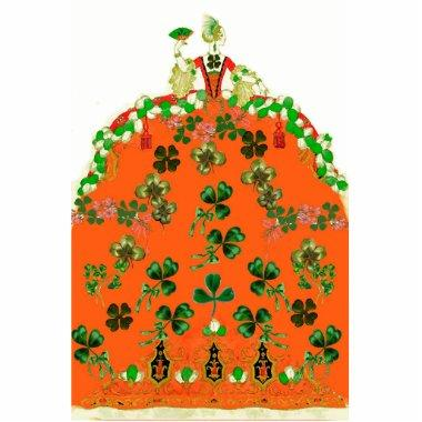 LADY ORANGE AND SHAMROCKS St. Patricks Day Party Cutout