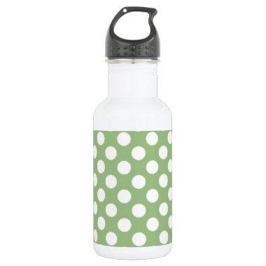 Laurel Green Polka Dots Stainless Steel Water Bottle