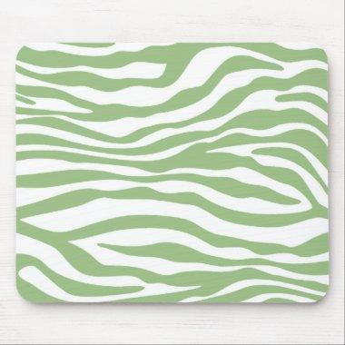 Laurel Green Zebra Stripes Animal Print Mouse Pad