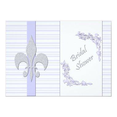 Lavender and Grey Fleur de Lis