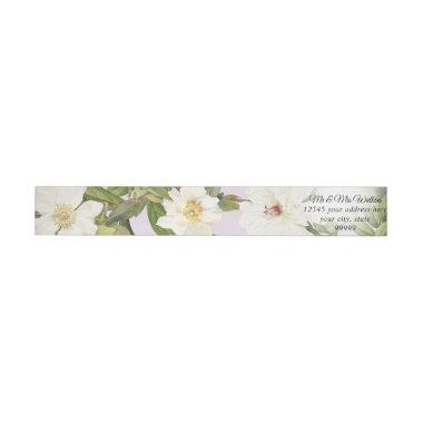 Lavender and White Vintage Botanical Floral Peony Wrap Around Label