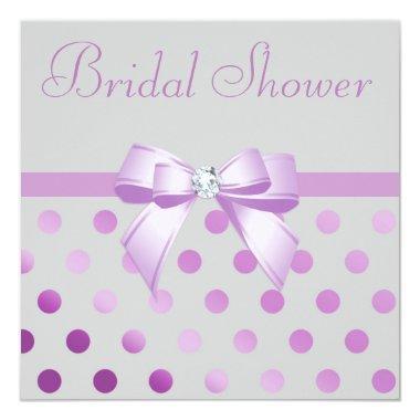 Lavender Bow Polka Dots Grey