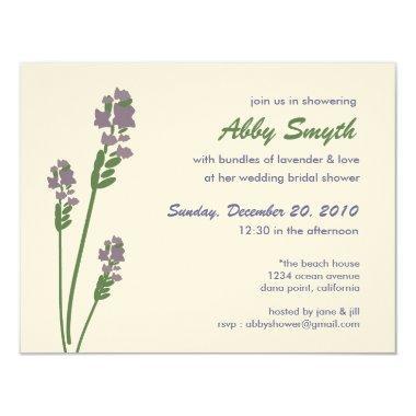 Lavender Bridal or Baby Shower Invitations