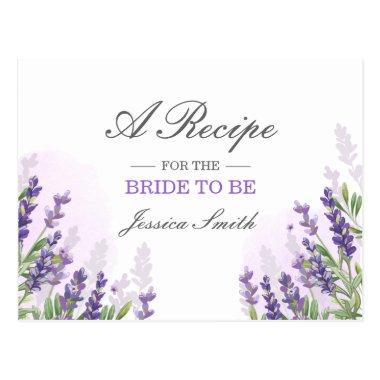 Lavender Bridal Shower Recipe Invitations Purple Rustic