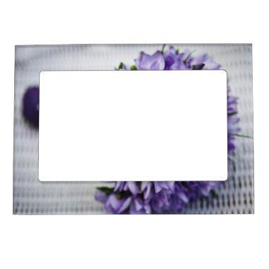 Lavender Crocus Bridal Bouquet Magnetic Picture Frame