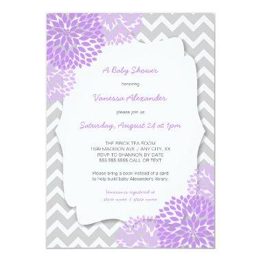 Lavender Dahlia Baby shower invites / purple grey