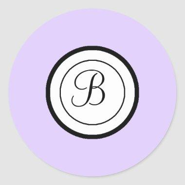 Lavender Envelope Seal Stickers Monogram B