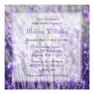 Lavender Flowers Bridal Shower Invitations