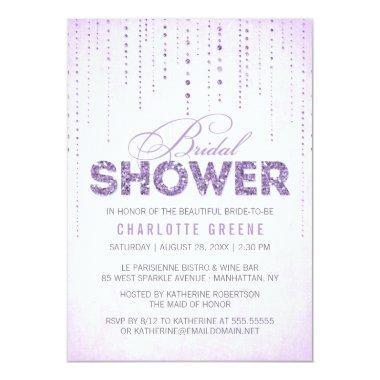 Lavender Glitter Look Bridal Shower Invitations