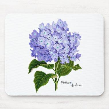 Lavender Hydrangea Botanical Vintage Personalized Mouse Pad