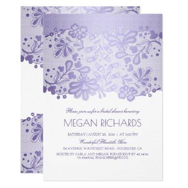 Lavender Lace Elegant Vintage White Bridal Shower Invitations