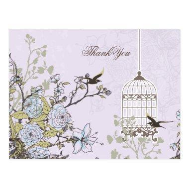Lavender Lilac vintage birdcage birds wedding Post